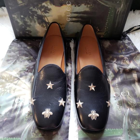6fea19b57cf Gucci Quentin Nero Star Leather Loafers Size 9.5